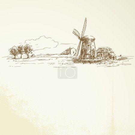 Illustration for Holland windmill - hand drawn illustration - Royalty Free Image