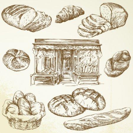 Illustration pour Pain, boulangerie - collection dessinée à la main - image libre de droit