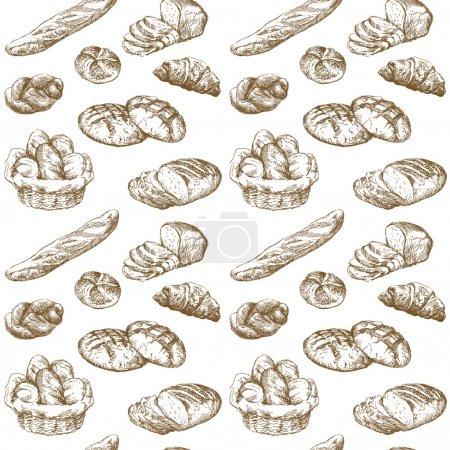 Illustration pour Pain - motif sans couture - image libre de droit