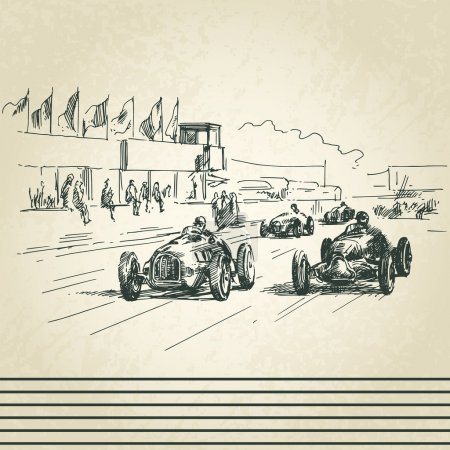 Illustration for Vintage racing cars - Royalty Free Image