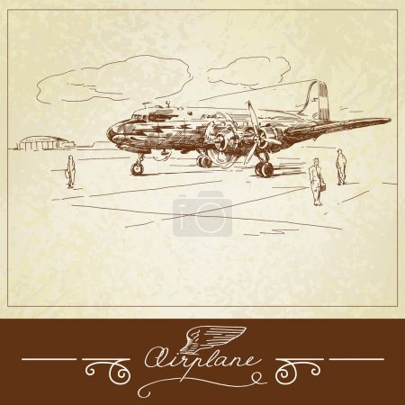 Vintage airplane - hand drawn illustration