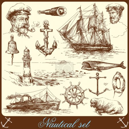 Nautical elements - hand drawn collection