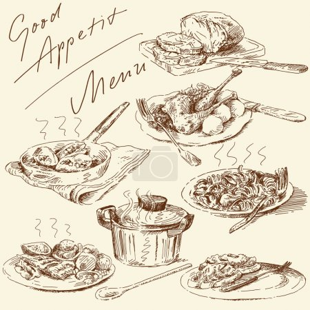 Illustration for Menu-original hand drawn set - Royalty Free Image