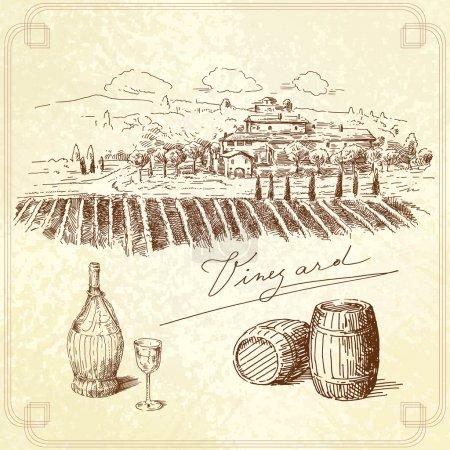 Illustration pour Vignoble originale collection dessinée à la main - image libre de droit