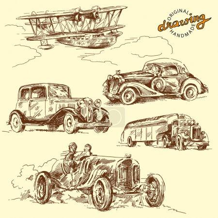 Illustration pour Véhicules anciens - ensemble dessiné à la main - image libre de droit