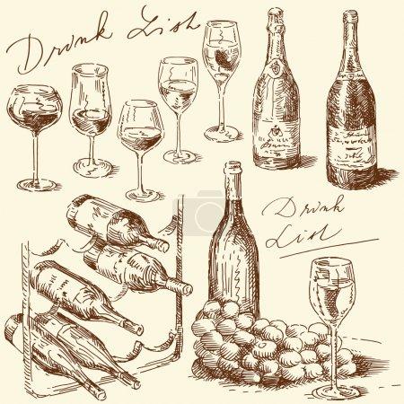 Illustration pour Collection de vins dessinés à la main - image libre de droit
