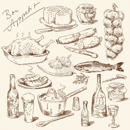 Illustration for Big collection of hand drawn food - Royalty Free Image