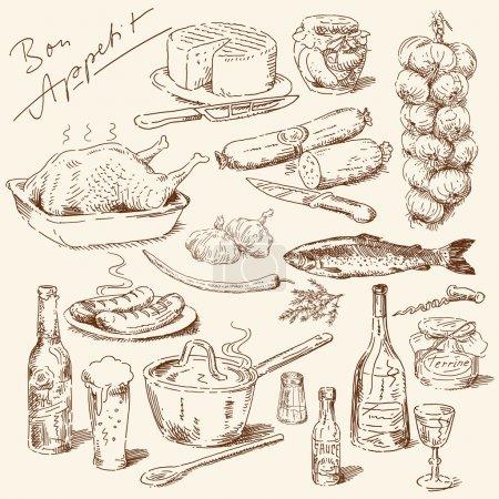 Photo pour Grande collection de nourriture dessinée à la main - image libre de droit