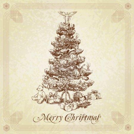 Illustration pour Tre de Noël vintage dessinés à la main - image libre de droit