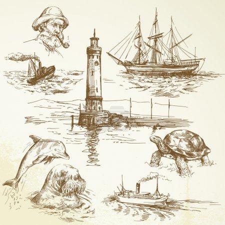 éléments nautiques dessinés à la main
