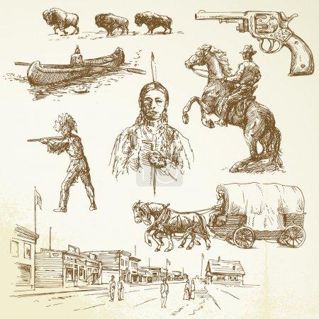Illustration pour Wild west - ensemble dessiné à la main - image libre de droit