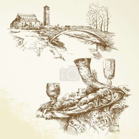 Italy, Tuscany - hand drawn collection...