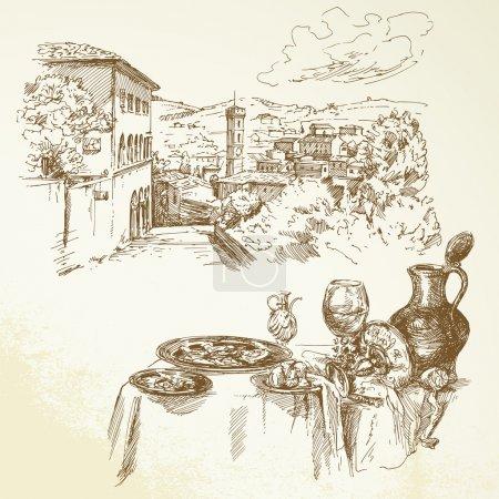 Illustration pour Vin, vignoble, Toscane - collection dessinée à la main - image libre de droit