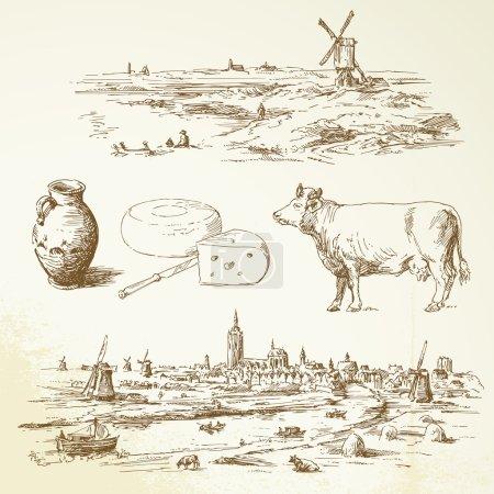 Illustration pour Moulin à vent Holland - illustration dessinée à la main - image libre de droit