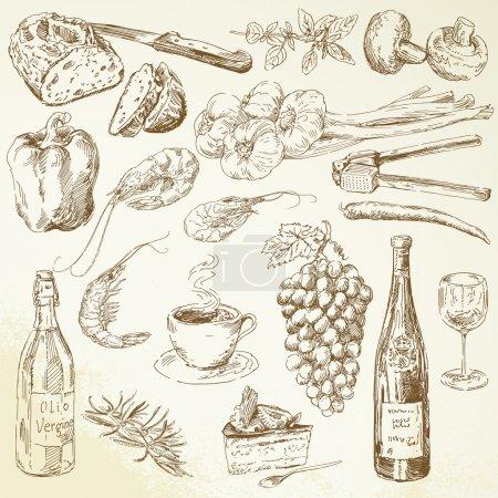 Photo pour Collection alimentaire - dessin - image libre de droit