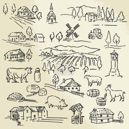 Illustration for Hand drawn illustration - farm - Royalty Free Image