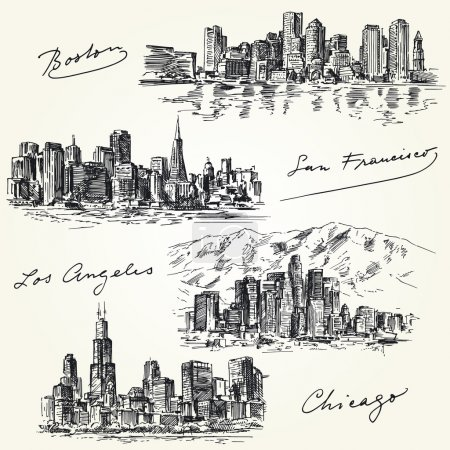 Photo for American cities skylines - hand drawn set - Royalty Free Image