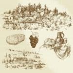 Italian rural landscape - vineyard - hand drawn il...