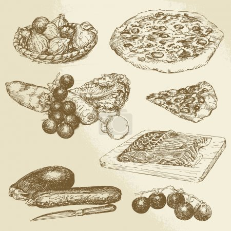 Illustration for Italian food, hand drawn set - pizza, vegetables - Royalty Free Image