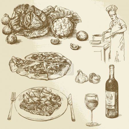 Collection of food - pizza, vegetables