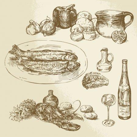 Illustration pour Collecte de nourriture - illustration dessinée à la main - image libre de droit