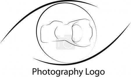 Illustration pour Logo photo avec appareil photo et les formes des yeux sur noir et blanc - image libre de droit