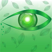 Eye of green color on a green background with leaves