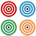 Set of varicoloured targets on a white background...