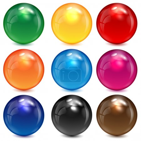 Illustration pour Ensemble de sphères colorées sur fond blanc - image libre de droit
