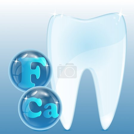 White tooth with chemical elements in blue spheres