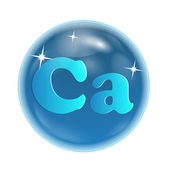 "designation of a chemical element ""calcium"" in a blue bowl"