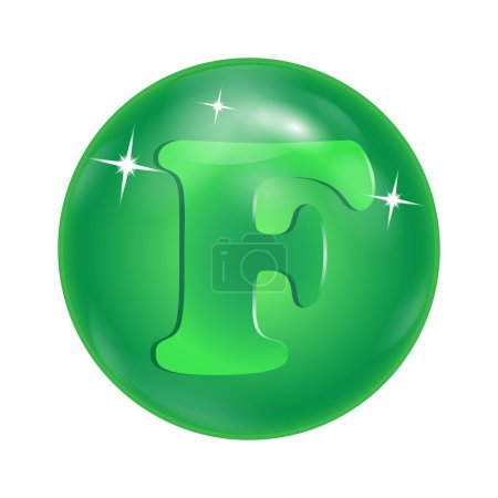 "Chemical element symbol ""F"" in a green bowl"