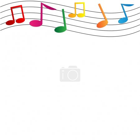 colorful notes on white background.musical background.vector