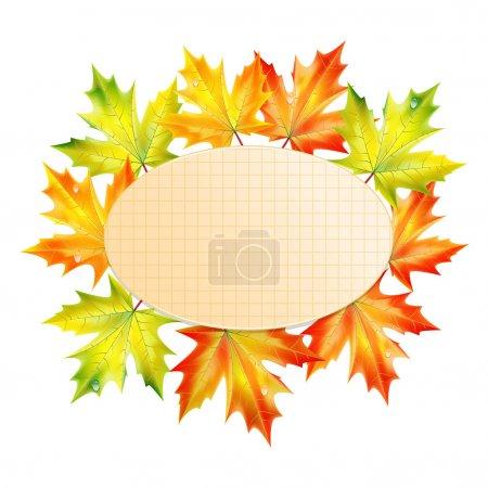 Illustration pour Fond avec feuilles d'automne et feuille de papier dans une cellule.fond d'automne.fond de l'école.vecteur - image libre de droit