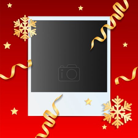 Illustration for Christmas background.photo on a red background decorated with golden streamers and snowflakes.vector - Royalty Free Image