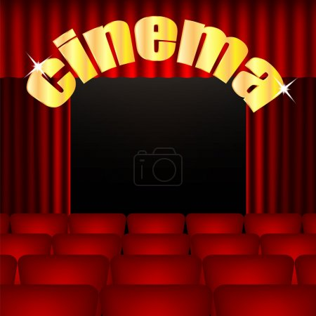 Cinema background.illustration cinema hall with red chairs and c