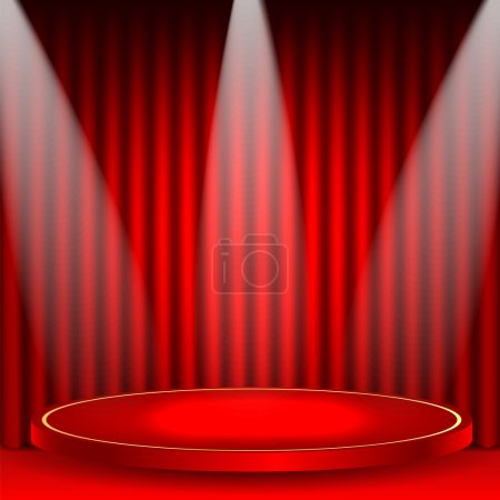 Illustration for Theatrical background.scene and red curtains.scene illuminated floodlights.red podium on a background of red drape curtains.vector - Royalty Free Image