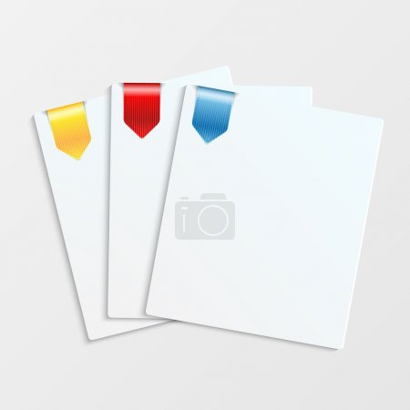 Sheets of white paper with colorful bookmarks and place for your