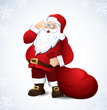 Illustration for Vector illustration with a merry Santa Claus - Royalty Free Image