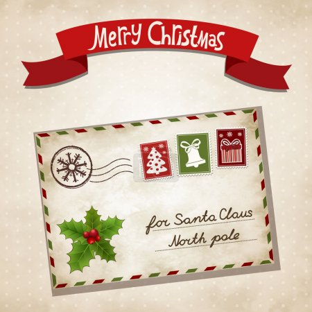 Illustration for Vector illustration for Christmas letter to Santa Claus - Royalty Free Image