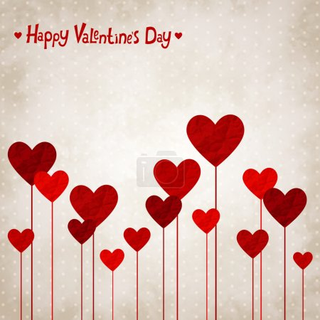 Illustration for Vector illustration for Valentines day with the heart of crumpled paper - Royalty Free Image