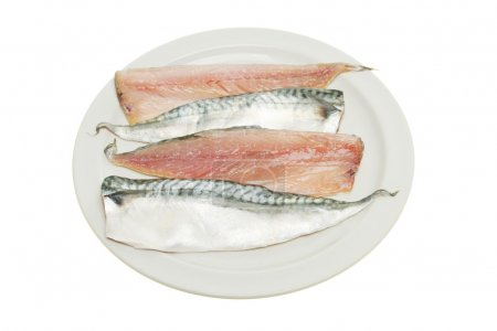 Mackerel fillets on a plate