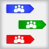 Tři lidská postava z knihy o barevné šipky