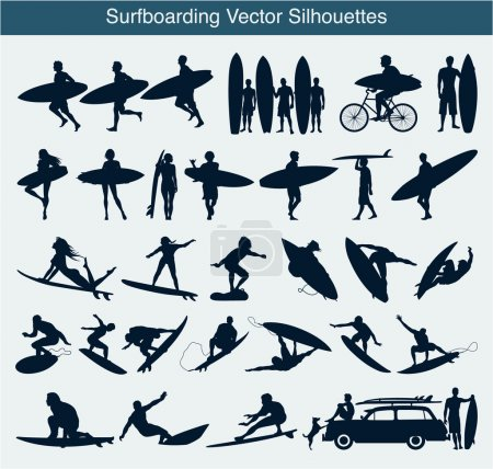 Illustration for Set of different surfing silhouettes - Royalty Free Image