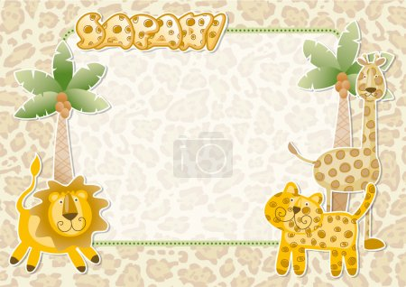 Illustration for Wild animals party vector invitation card - Royalty Free Image