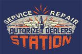 Service station vintage sign board