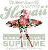 Floral Hawaii surfing