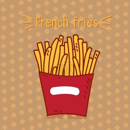 Illustration pour Frites avec l'inscription - image libre de droit