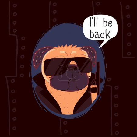 Pug in the image of the Terminator
