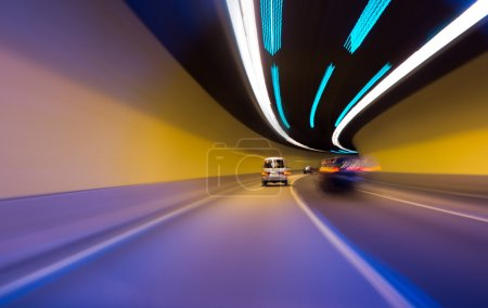 Night driving-motion blur tunnel light